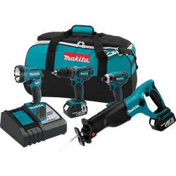 Makita 18 V LXT Lithium-Ion Cordless 4 piece Combo Kit - XT407