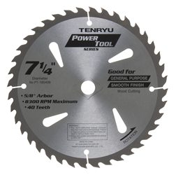 "Tenryu 7-1/4"" 40 Tooth Very Smooth Wood Blade - PT-18540B"