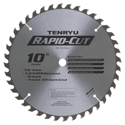 "Tenryu 10"" 40 Tooth Semi-Smooth Wood Blade - RS-25540"
