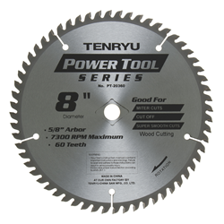 "Tenryu 8"" 60 Tooth Smooth Wood Blade - PT-20360"