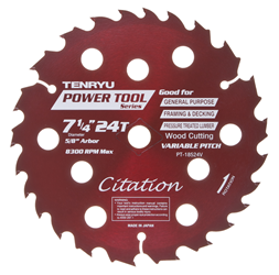 "Tenryu 7-1/4"" 24 Tooth Smooth Treated Lumber Blade -  PT-18524V"
